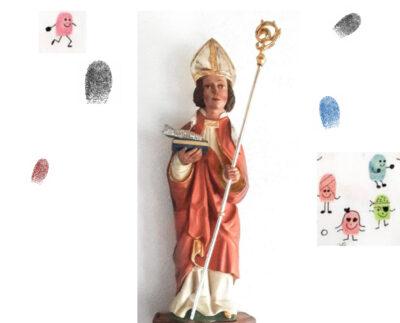 Ulrichsdarstellung mit Fingerabdrücken der Kinder gestaltet